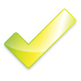 Green Tick. Nice illustration of a 3d look yellow star on white background - good us for rating Stock Image