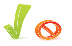Green tick and block icon. Depicted on white background Stock Image