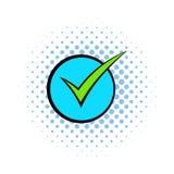 Green tick, check mark icon, comics style Royalty Free Stock Photos