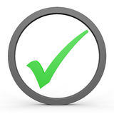 Green tick in circle. Royalty Free Stock Photo