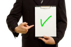 Green tick on clipboard Royalty Free Stock Photo