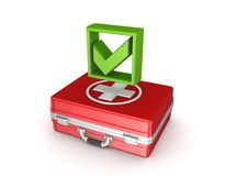 Green tick mark on a red medical case. Stock Images