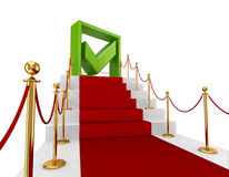 Green tick mark on a red staircase. Royalty Free Stock Photography