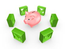 Green tick marks around pink piggy bank. Royalty Free Stock Photography