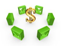 Green tick marks around sign of dollar. Royalty Free Stock Photography