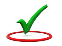 Green tick in red circle Stock Images