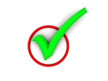 Green tick in red circle Stock Photography
