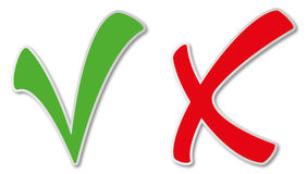 Green tick and red cross stock photography