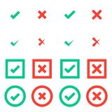 Green tick and red cross checkmarks in circle and square flat icons. Stock Photo