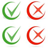 Green tick and red cross checkmarks. Line check mark. Flat design, vector illustration, vector Stock Photos