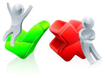 Green tick and red cross concept. With people mascots Royalty Free Stock Images