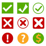 Green tick and red cross Royalty Free Stock Images