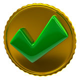 Green tick sign on golden coin Royalty Free Stock Image
