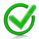 Green tick sign icon 3d. Glass check mark symbol Royalty Free Stock Image