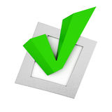 Green tick in the small box on white background. 3d rendering Royalty Free Stock Image