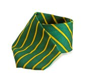 Green tie with yellow stripes Stock Photography