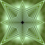 Green tile with abstract semitransparent star shape on green gradient baackground Stock Image