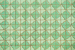 Green tile wall Stock Photo