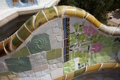 Green Tile Work at the Park Guell Overlook in Barcelona. Photo of green tile work at park guell in barcelona spain. This park was designed by architect antonio royalty free stock photos