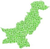 Green tiled map of Pakistan Royalty Free Stock Image