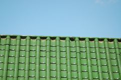 A green-tiled roof in Portland, Oregon Stock Photography