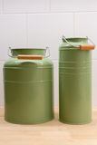 Green tin containers Stock Photography