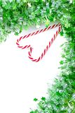 Green tinsel with candy canes decoration Stock Image