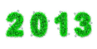 Green tinsel forming 2013 year number. On white vector illustration