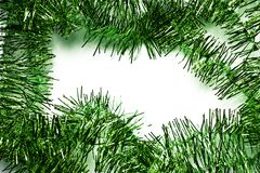 Green tinsel frame Stock Photography