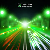 Green tint night road. With glowing lights, bokeh and speed lines Stock Photo