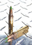 Green tipped ammunition on metal Royalty Free Stock Photography
