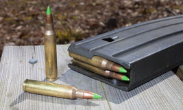 Green tipped bullets stock photos