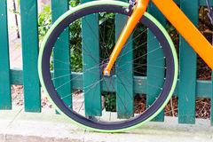 Green tire on a bicycle Royalty Free Stock Photo