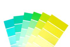 Green to blue color paint chips Royalty Free Stock Images