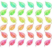 Green to red leaf pattern illustration Stock Photos