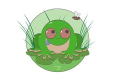 Green toad in the grass stock illustration