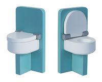 Green Toilet with Seat Down and Seat Up Royalty Free Stock Photography