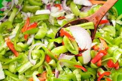 Green Tomato, Pepper and Onion Salad Royalty Free Stock Images