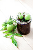 Green tomatoes jam Stock Photography