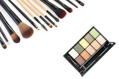 Green tone,natural look makeup kit and brushes Stock Photo