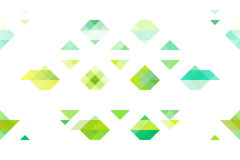 Green tone triangles on isolated white background. Colorful geometric background, warm spring leaves colors Royalty Free Stock Photos