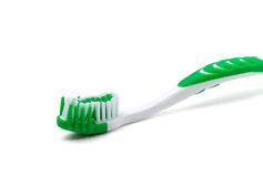 Green toothbrush on white background Royalty Free Stock Image