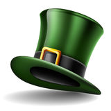 Green top hat for St. Patrick`s Day, isolated on white. Green top hat with gold buckle for St. Patrick`s Day, isolated on white Royalty Free Stock Image