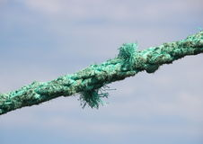 Green torn anchor rope with sky background Stock Photography