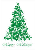 Green torn Christmas tree. Unusual Christmas tree for your Greeting card,  illustration Stock Image