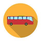 Green tour bus icon in flat style isolated on white background. Rest and travel symbol stock vector illustration. Stock Images