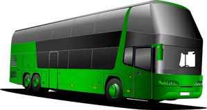 Green tourist bus  bus Stock Images