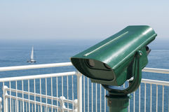 Green tourist telescope Royalty Free Stock Image