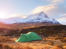 Green touristic tent on meadow at river below snowy cone of mountain Stob Dearg 1021 metres high Stock Photos