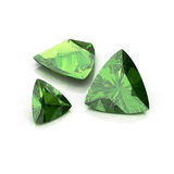 Green Tourmaline trilliant cutting. Background diamond shape illustration 3D rander vector illustration